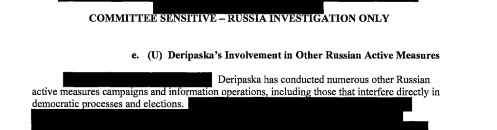 The report details Oleg Deripaska's interference in elections in other countries.