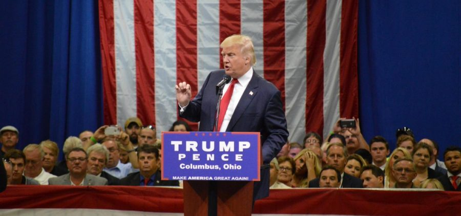 President Donald Trump at a rally in Columbus