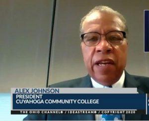 Tri-C president Alex Johnson spoke during the coronavirus briefing Thursday.