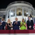 From left, Kimberly Guilfoyle, Donald Trump Jr., Tiffany Trump, President Trump, first lady Melania Trump and Barron Trump stand on the South Lawn of the White House on the last night of the Republican National Convention.