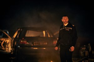 Constable at scene of car accident