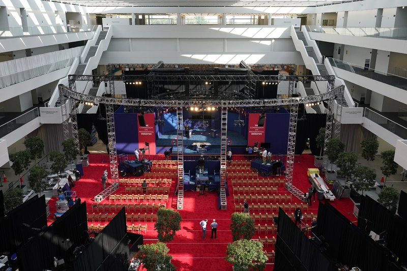 Preparations take place for the first Presidential debate in the Sheila and Eric Samson Pavilion, Monday, Sept. 28, 2020, in Cleveland. The first debate between President Donald Trump and Democratic presidential candidate, former Vice President Joe Biden is scheduled to take place Tuesday, Sept. 29.