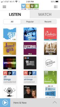Audio on demand tab on WOUB App