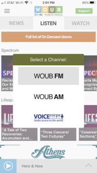 Listen tab on WOUB App