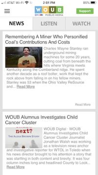 News tab on WOUB App