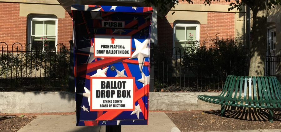 Absentee voters can drop off their election ballots in this box on Court Street in uptown Athens.