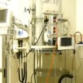 Ventilators and breathing equipment in a room.