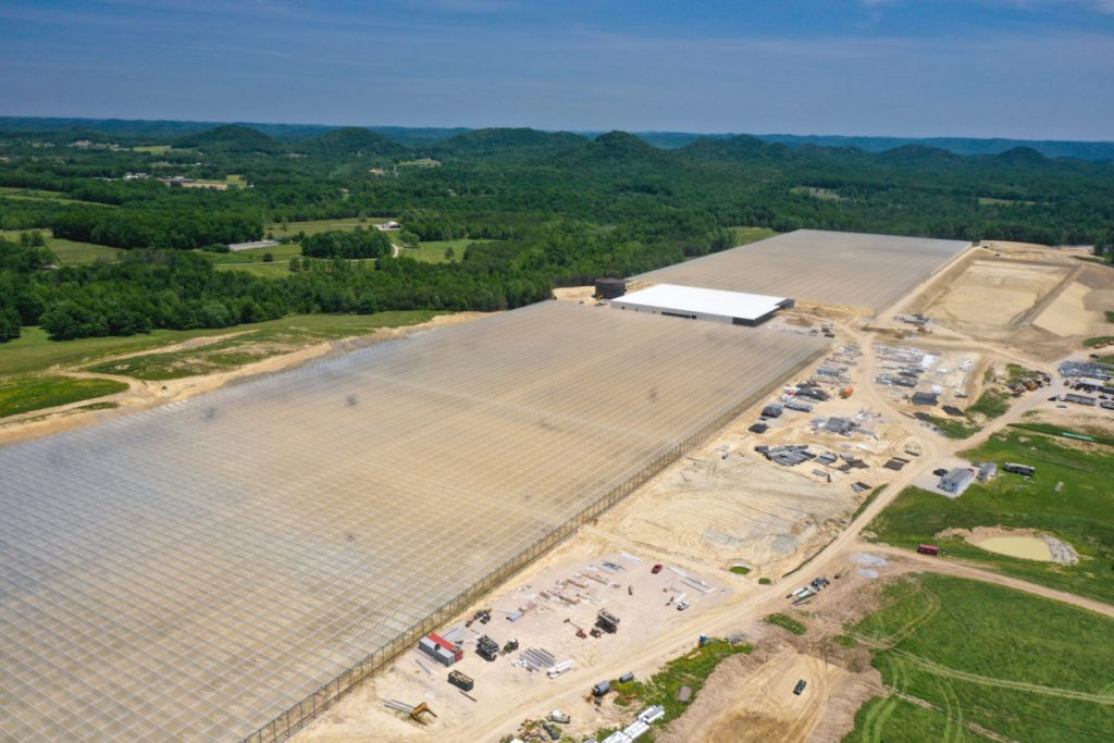 The construction site for the AppHarvest greenhouse in Morehead.