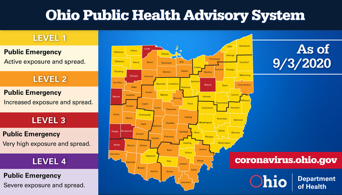 The Ohio Public Health Advisory System map for Sept. 3