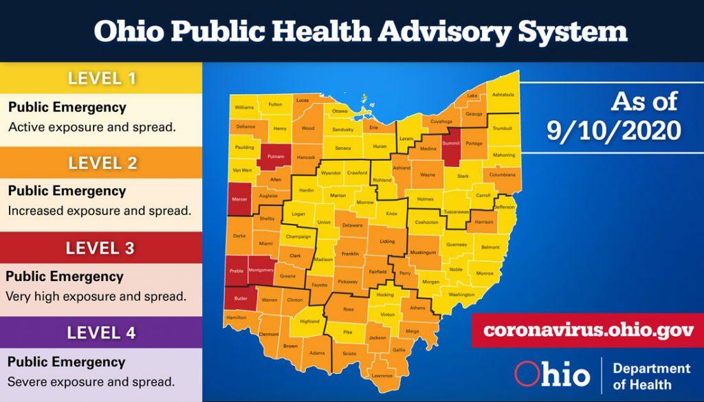 The Ohio Public Health Advisory map for Sept. 10