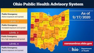 The Ohio Public Health Advisory System map for Sept. 17