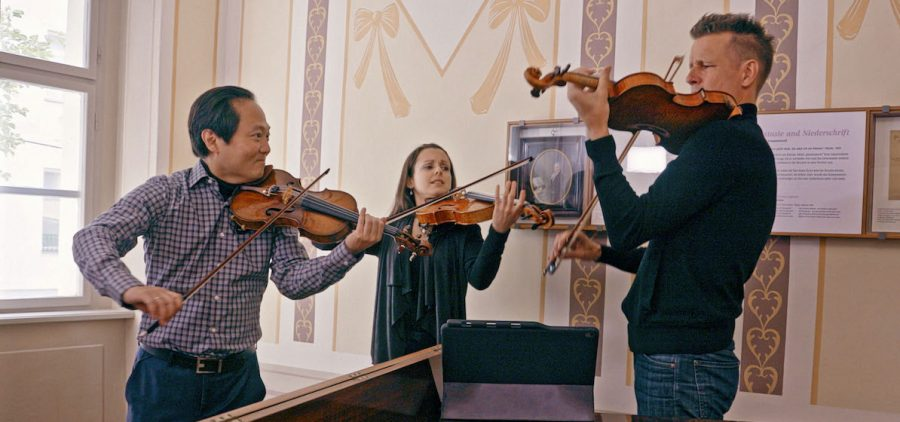 Three violinists playing