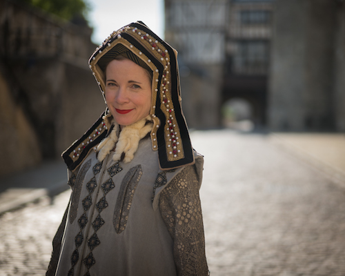 Lucy Worsley dressed as Anne Boleyn at the Tower of London