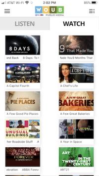 Video on demand tab on WOUB App