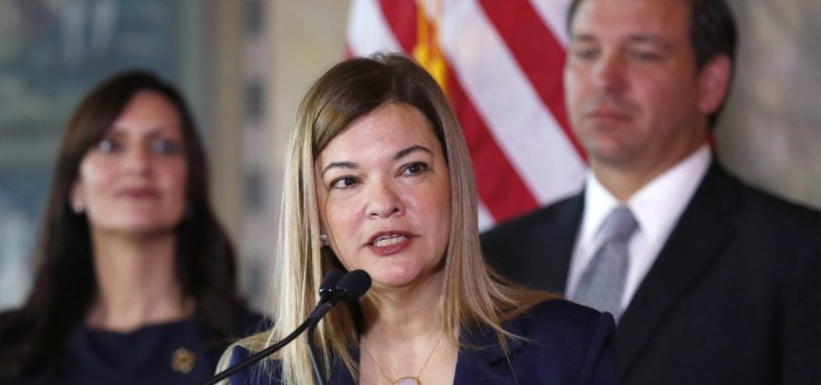 Barbara Lagoa speaks in January 2019 after being named as Florida Gov. Ron DeSantis' pick for the state Supreme Court.