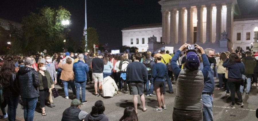 Crowds gather Saturday at the Supreme Court to honor the late Justice Ruth Bader Ginsburg.