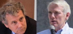 U.S. Senator Sherrod Brown on the left and U.S. Sen. Rob Portman on the right