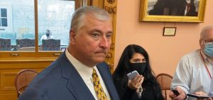 Rep. Larry Householder (R-Glenford) speaks to reporters before session on September 1. It was the first time he was back in the House since being stripped of his speakership in July.
