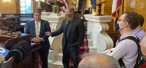 Senate President Larry Obhof (R-Medina) speaks to reporters after session on Wednesday, September 2, 2020.