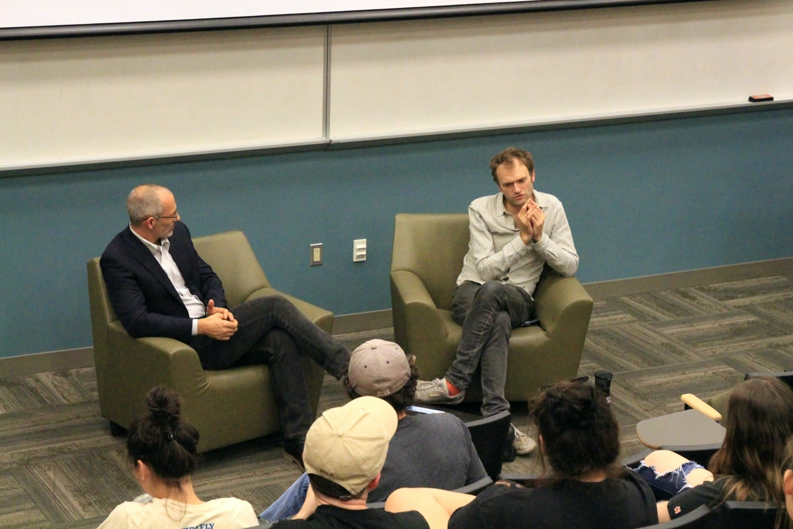 Chris Thile talking with students at Ohio University