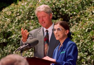 Then-President Bill Clinton announces Ginsburg as his nominee to the Supreme Court during a news conference in Washington, D.C., on June 14, 1993. Ginsburg replaced retired Justice Byron White and became the nation's second female justice.