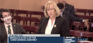 Rep. Laura Lanese (R-Grove City) testifies before the Ohio House Select Committee on Energy Policy and Oversight.