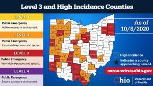 The Ohio Public Health Advisory System Map for Oct. 8