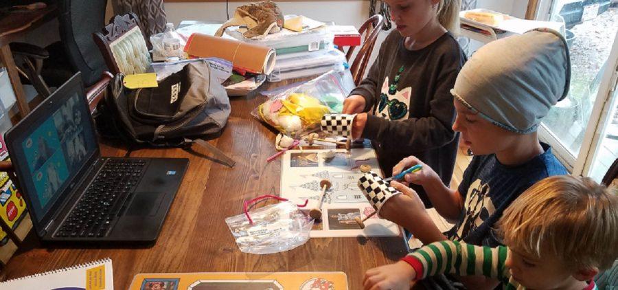 Children participating in workshop series over Zoom