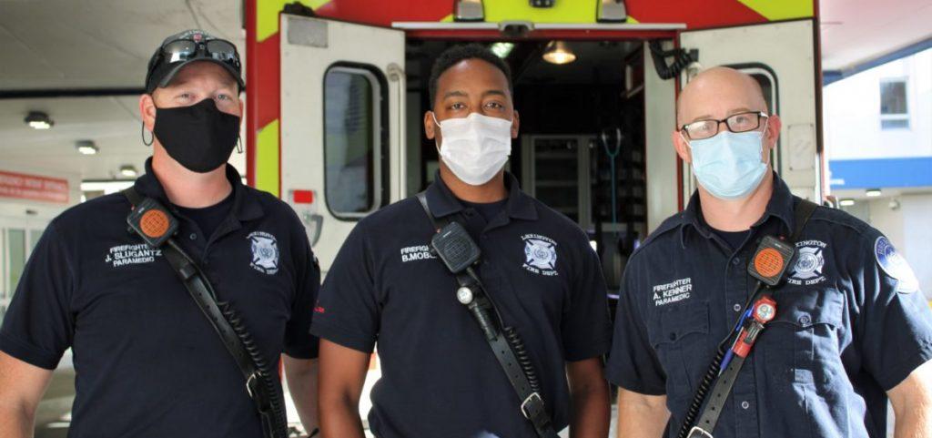 Lexington firefighters Joshua Slugantz, Brandon Mobley and Andy Kenner at the UK Samaritan Hospital in Lexington.