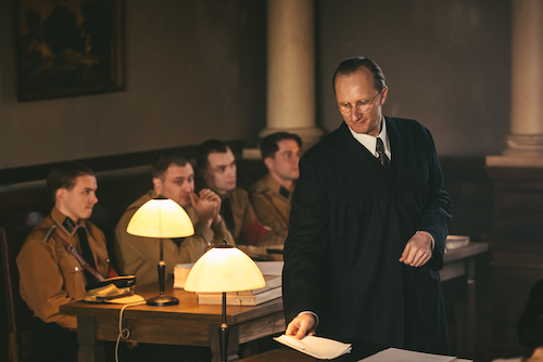 Drama Reconstruction_Lawyer, Hans Litten in court prosecuting 4 stormtroopers