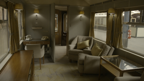 Interior shot of World War II royal train carriage.