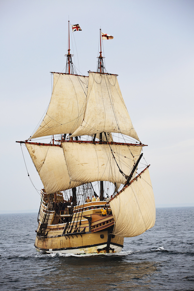 Mayflower II at sail in Plymouth Harbor
