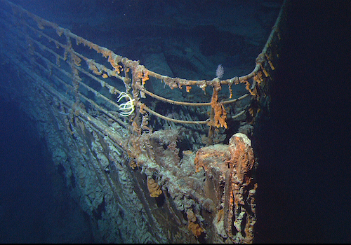 View of the bow of the RMS Titanic photographed in June 2004