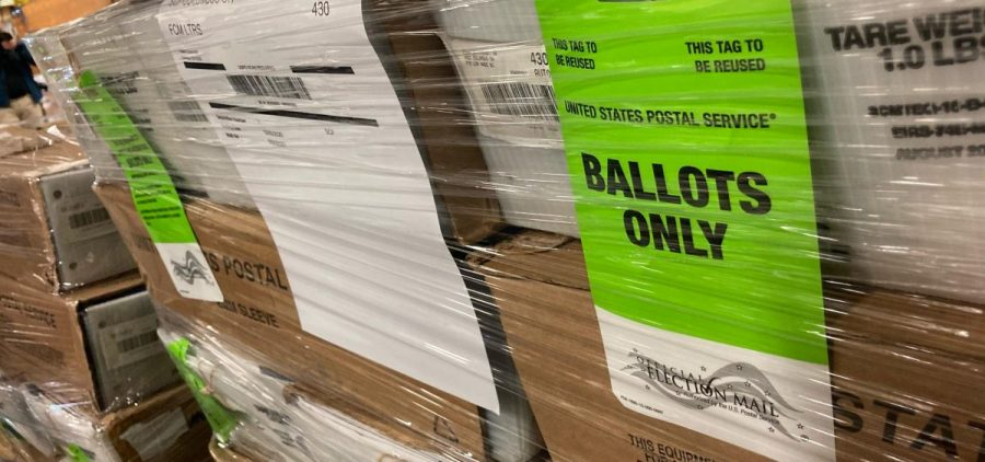 Boxes of mail-in ballots