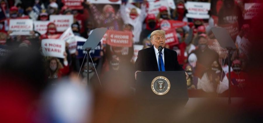 President Donald Trump addresses supporters at a rally in Circleville on Saturday, Oct. 24, 2020.
