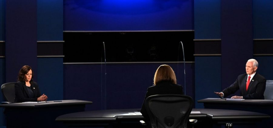 Vice President Pence speaks during the vice presidential debate with Democratic vice presidential nominee Sen. Kamala Harris, D-Calif., at the University of Utah in Salt Lake City on Wednesday.