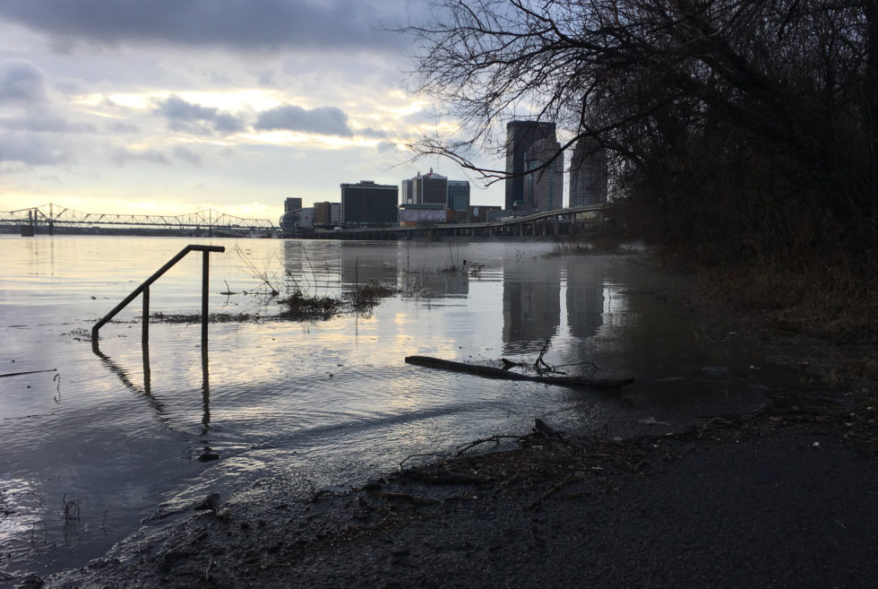 The Ohio River out of its banks in Louisville