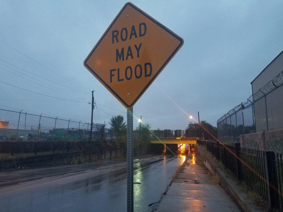 Flood signage in Louisville.