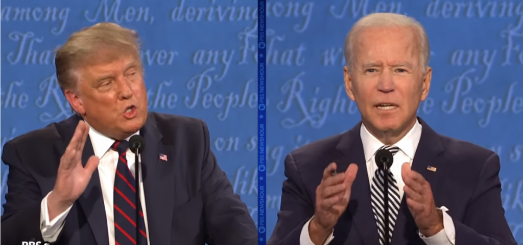 President Trump and Joe Biden in a screenshot from the debate in Cleveland on September 29.