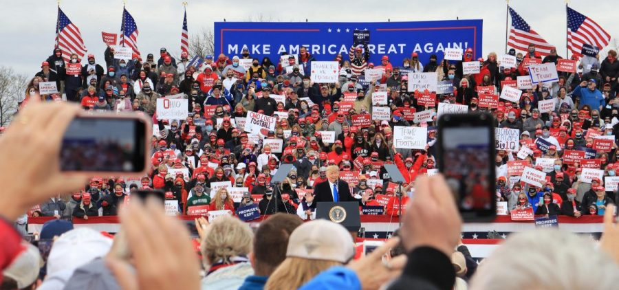 President Donald Trump speaking to supporters in Circleville.