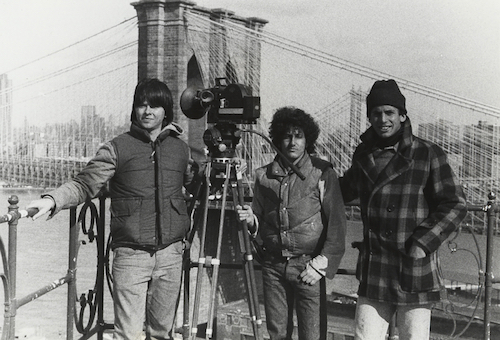 """Left to right: Ken Burns, Buddy Squires and Roger Sherman during the filming of """"Brooklyn Bridge,"""" which premiered in 1981."""