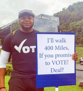 Devine Carama on his walk for voter participation