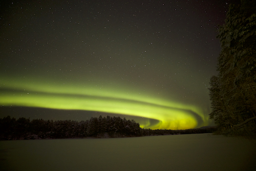 The Northern Lights in Lapland, Finland.