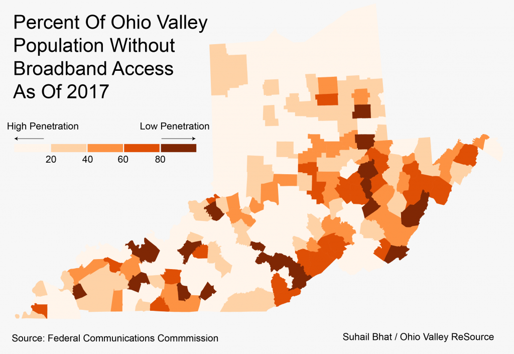 A map showing broadband penetration in the Ohio Valley