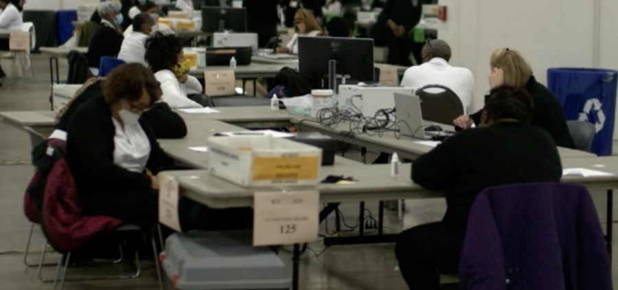 Workers count ballots in Detroit
