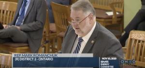Rep. Mark Romanchuk (R-Ontario) presents his bill, HB772, to Ohio Senate Energy and Public Utilities Committee.