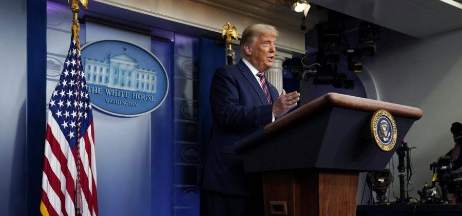 President Donald Trump speaks at the White House on Thursday.