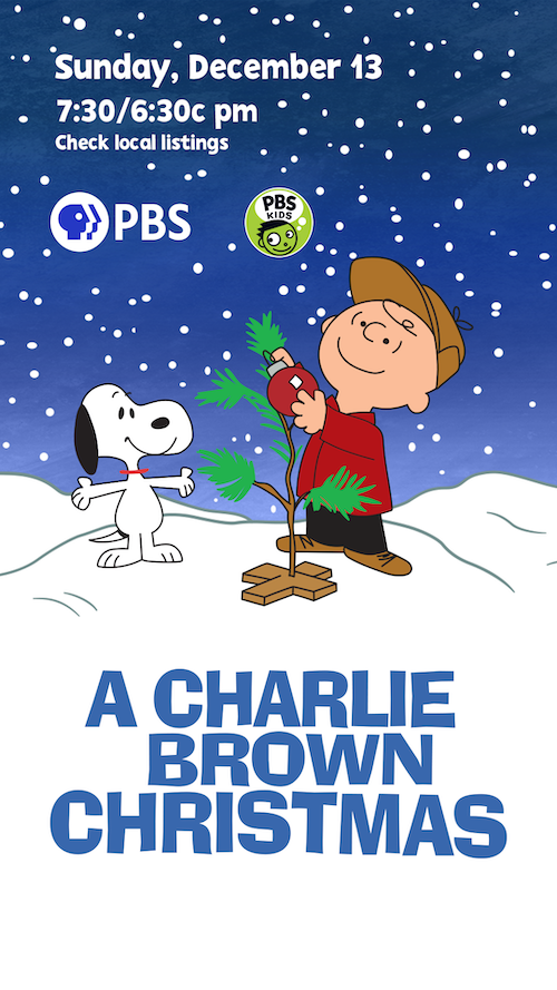 Charlie Brown and Snoopy in snmow around tiny tree