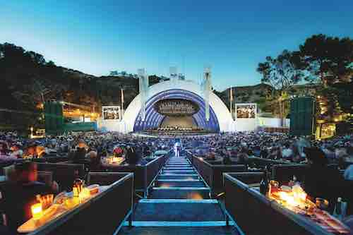 Hollywood Bowl shell with patrons in Box Seats.
