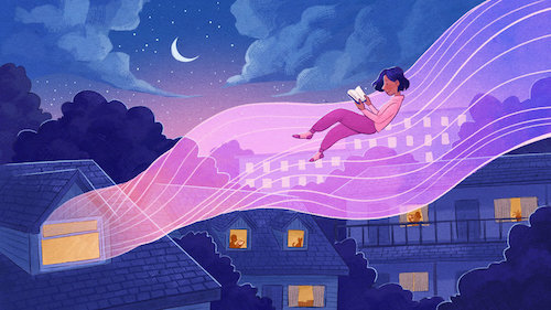 cartoon of book reader floating away on story